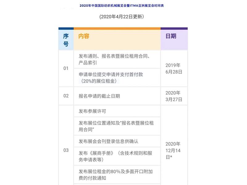 【最新】2020年中国国际纺织机械展览会暨ITMA亚洲展览会时间表